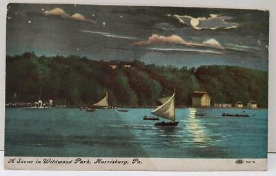 Harrisburg Pa A Scene In Wildwood Park, Sailing By Night, Sailboats Postcard E1