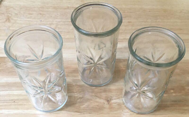 Vintage Jelly Jar Juice Star Burst Ball Glass Lot of 3