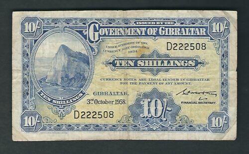 Gibraltar - 10 Shillings , 1958