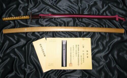 """29"""" SHINTO KATANA SHODAI YASUHIRO 1660 + NBTHK BIG CHOJI - Japanese Sword Tsuba"""