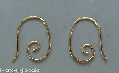 Small HAMMERED 15mm Fancy INTERCHANGEABLE Earring Wires 14K Yellow Gold Filled