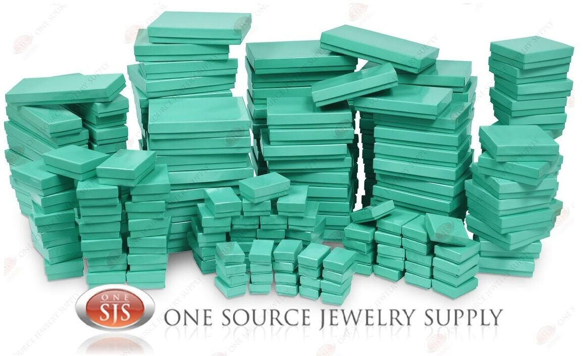 Jewelry - Teal Blue Cotton Filled Gift Boxes Jewelry Cardboard Box Lots of 12~25~50~100