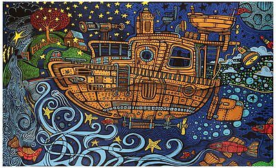 Sunshine Joy 3D Steampunk Tugboat Tapestry Wall Hanging 60x90 Inches