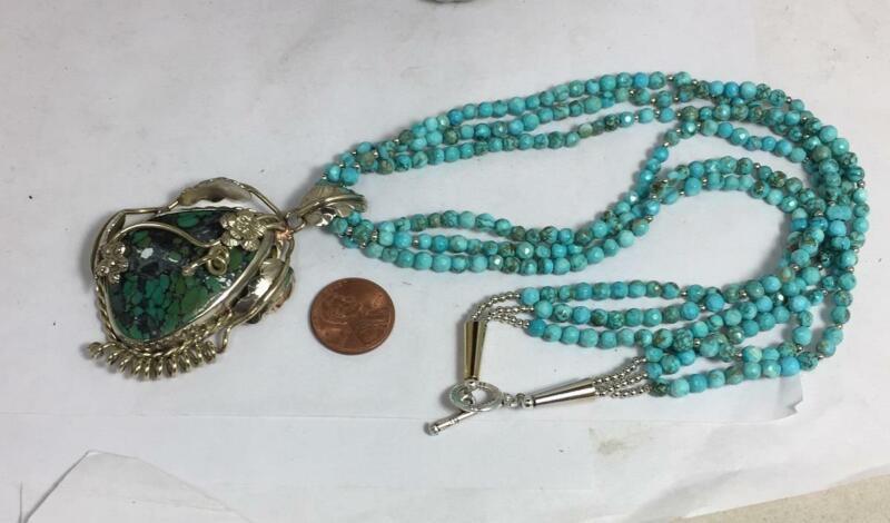 Gorgeous Nevada turquoise pendant/stablized turquoise bead necklace/(w305k-w1.5)