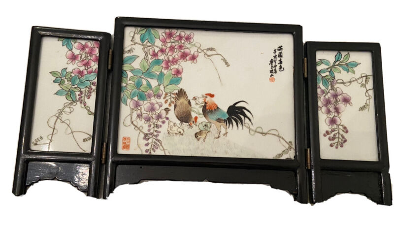 RARE! Antique Chinese Porcelain Table Screen Signed Bird Motif