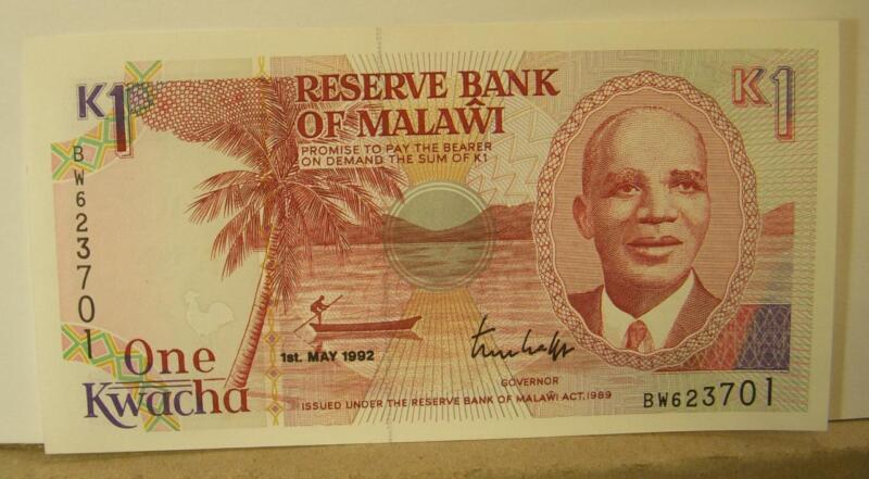 Malawi 1 Kwacha P23 1992 Animal Crisp Uncirculated