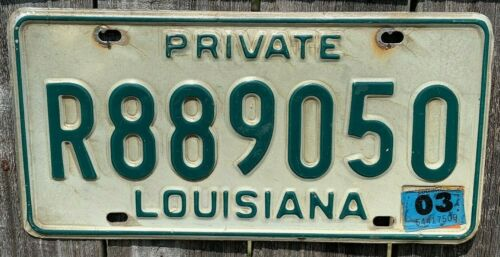 2003 Louisiana License Plate Original, Used