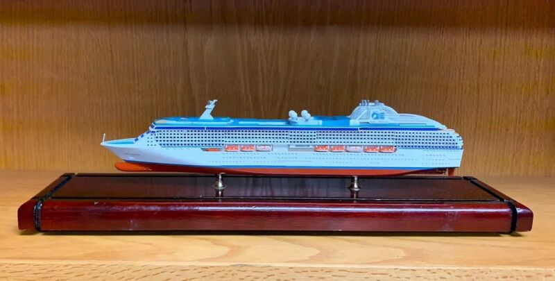 Coral Princess Ocean Liner Cruise Ship Model Museum Quality -Flawed Base & Cover