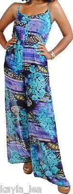 Turquoise/Purple Ethnic/Tribal Wide Leg Cami Romper/Jumper/Cat Suit Jump Suit S (Tribal Cat)