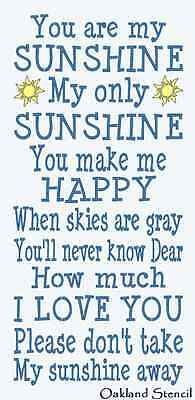 You Are My Sunshine Stencil (Primitive STENCIL**You are my Sunshine**Typography Subway for Signs 12