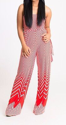 Belted Tube Top (Orange Chevron Strapless Tube Top Belted Tie Jumpsuit Romper Jumper Tall Pants)