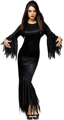 Damen Sexy Morticia Vampir Halloween Lang Kostüm Kleid Outfit 8-10-12 (Langen Schwarzen Vampir-kleid)