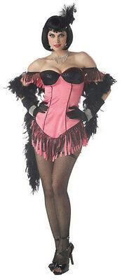 Womens Pink Black Cabaret Artist Burlesque Showgirl Sexy Adult Costume Large