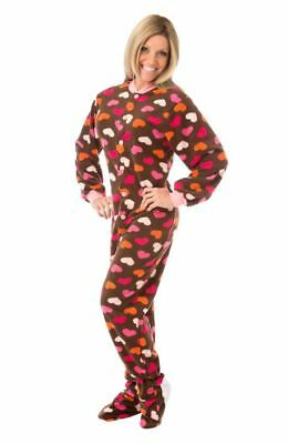 Brown Fleece w/ Pink Hearts Womens Footed Pajamas Sleeper with Drop seat - Footed Sleeper Pajamas