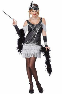 Razzle Dazzle 1920s Short Black Silve Flapper Dress Women Adult Costume Size S