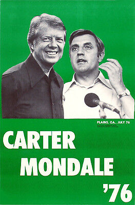1976 Carter Mondale Campaign Poster ~ Issued by Jimmy's Cousin Hugh! (1210)