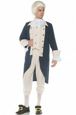 Colonial Uniform Costume 3 Pc Navy & Tan Coat W/ Attached Vest Knickers & Jabot](Costume Knickers)