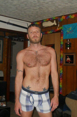 Shirtless Male Muscular Jock Beard Ginger Red Hair Tats PHOTO 4X6 Pinup P2301***