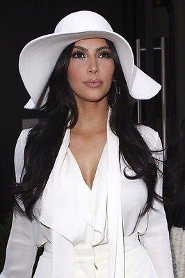 White Felt Hat - XL, White, wide brim wool felt hat