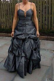 Ladies Womans Prom Ball Graduation Dress in Metallic Grey UK Size 10/12