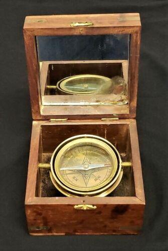 Vintage Decorative Nautical Compass Wooden Box Glass & Brass Mounts Inlaid