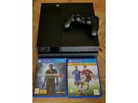 Ps4 console 500gb one controller and 2 games
