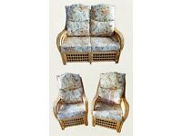 Consevatory cane suite - 2 seater settee and 2 chairs