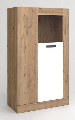Vitrina comedor aparador salon cristal 2 puertas blanco y naturale 80x141x40 cm