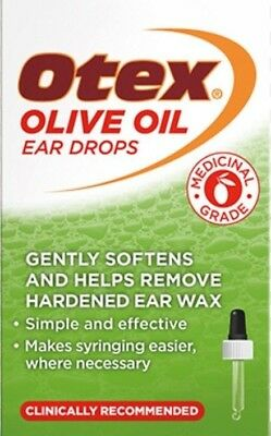 Otex Olive Oil Ear Drops Softens Wax   10ml   UK PHARMACY STOCK