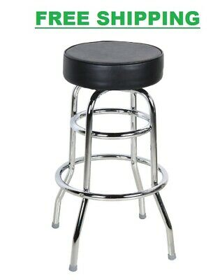 Restaurant Bar Stools Black Double Ring Barstool With 3 12 In Thick Seat Silver