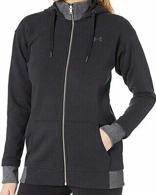 Under Armour Women's Threadborne Full Zip Hoodie Sweatshirt Black Medium