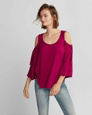 EXPRESS Medium FUCHSIA BERRY PINK TIE SLEEVE COLD SHOULDER TEE shirt top (M 8-10