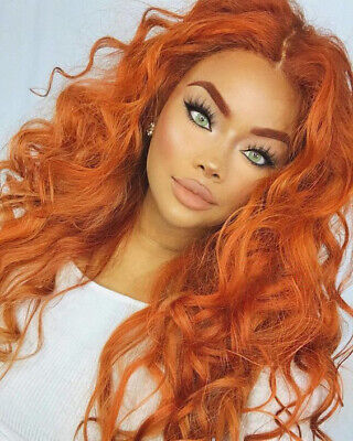 Women Curly Wavy Orange Wig Cosplay Long Wig Costume Wig Full Wig Synthethic US