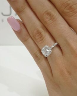 Breathtaking Diamond Engagement White Gold Ring - French Designer