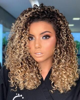 Women Ombre Blonde Long Curly Hair Wig Afro African Kinky Wave Party Full Wig -