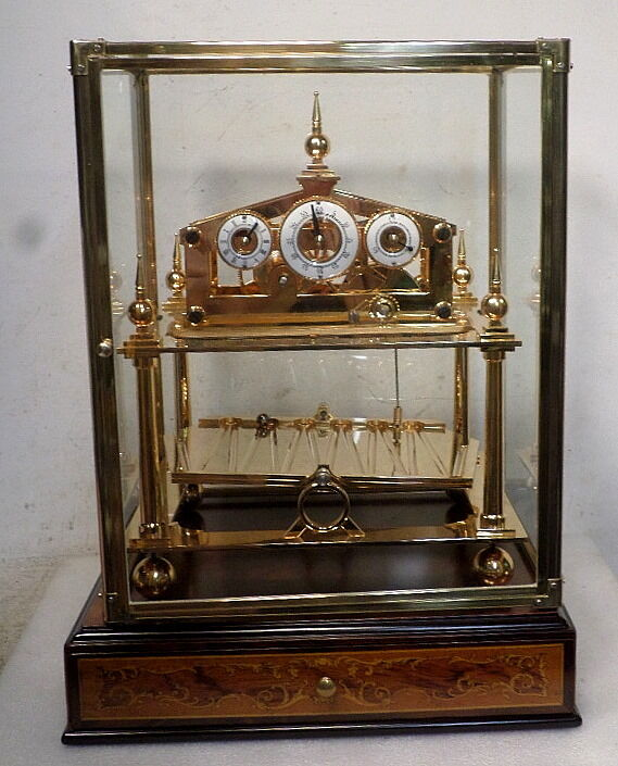 24K Gold Plate Five Finial Fusee Congreve Clock With Beautiful Base & Drawer