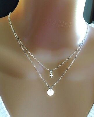 Layered Necklace With Sterling Silver Tiny Cross And Disc (Sterling Silver Layered Charm Necklace)