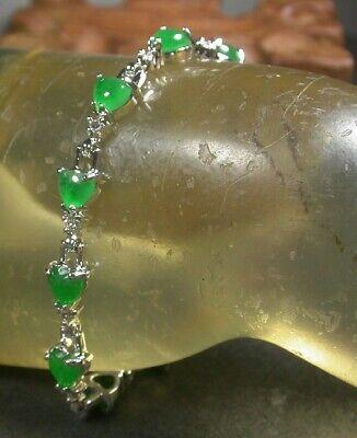 White Gold Plate CHINESE Green JADE Bead Beads Love Heart Bangle Bracelet 100356