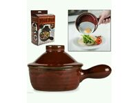 CERAMIC COOKWARE MICROWAVE HOT POT STONEWARE KITCHEN STEAM REALISING LID DIS