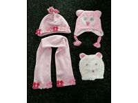 Girls hats and scarf 1 - 2 years