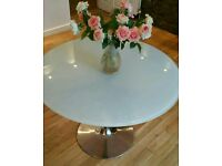 Venetian White Glass Dining Table - Round - John Lewis - Designer - (Habitat, Dwell, India Jane)