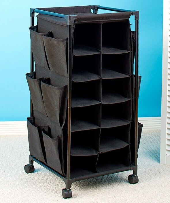 Fashionable Rolling Shoe Storage Unit with Fabric Cubbies