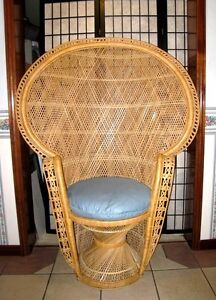 Large Vintage Rattan/Cane/Wicker Peacock High Throne fan Chair