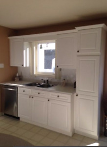 Kitchen cabinets countertops and kitchen sink with Fawcett