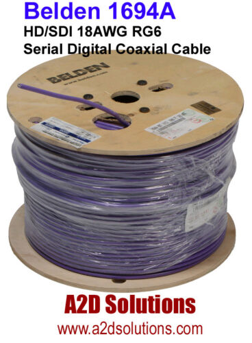Belden 1694A  007-1000 HD/SDI 18AWG RG6  Digital Coaxial Cable VIOLET 1,000 feet