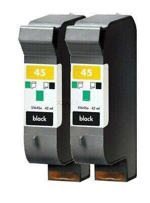 2 PACK #45 Black Ink for HP FAX 1220 Officejet G55 G85 G95 K60 K80 R40 R60 (Remanufactured Black Fax)