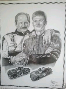 Dale Sr and Jr Wooden Framed Collectible signed picture
