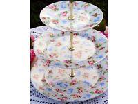 Three tier Cath Kidston cake stand (Bird White)
