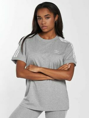NEW Adidas Women's Originals 3 Stripes Trefoil Grey Tee Shirt CY4982 MANY SIZES