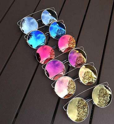 Oversized Giant Circle Round Technologic XL Flat Lens Wire Brow Sunglasses (Flat Brow Sunglasses)